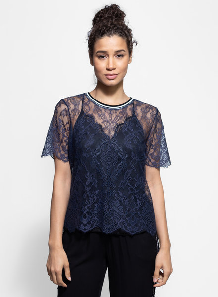 Loyd/Ford Eyelash Lace Tee Navy