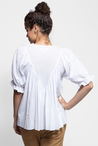 The Great Ruffle Triangle Top White
