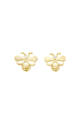 Victoria Cunningham 14K Gold Bee Earrings