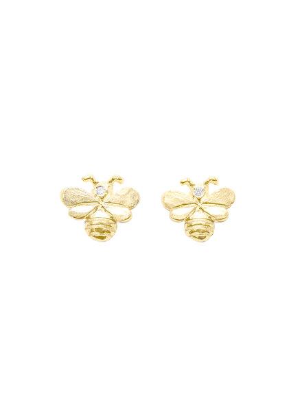 Victoria Cunningham 14K Gold Bee Earrings