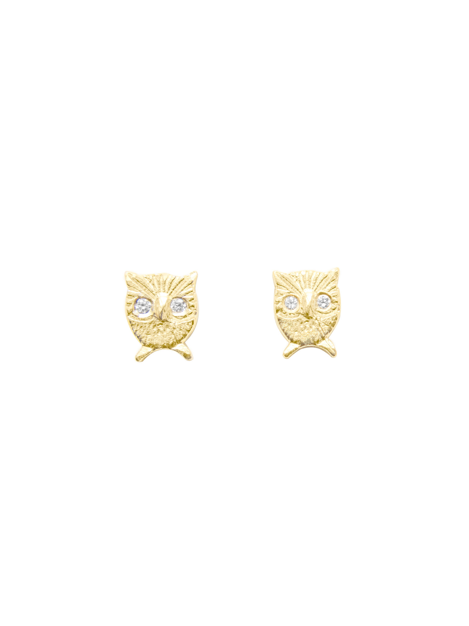 Victoria Cunningham 14k Gold Owl Earrings