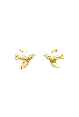 Victoria Cunningham 14K Gold Bird Flying Earrings