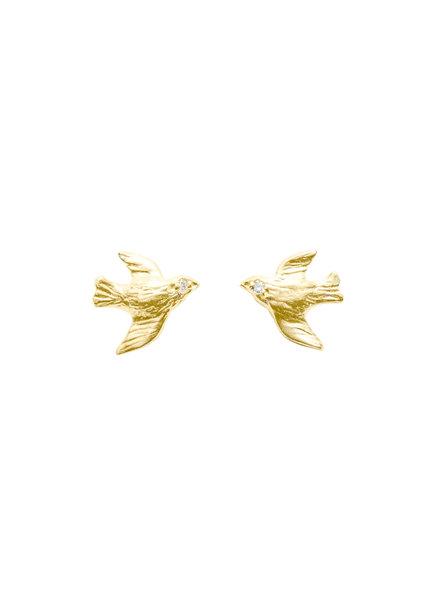Victoria Cunningham 14K Gold Bird Flying Earrings