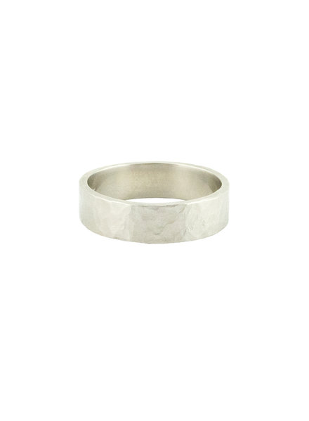 Sarah McGuire Rustic Hammered White Gold Band