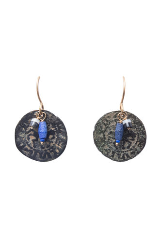 Renee Garvey Lapis Ancient Coin Earrings