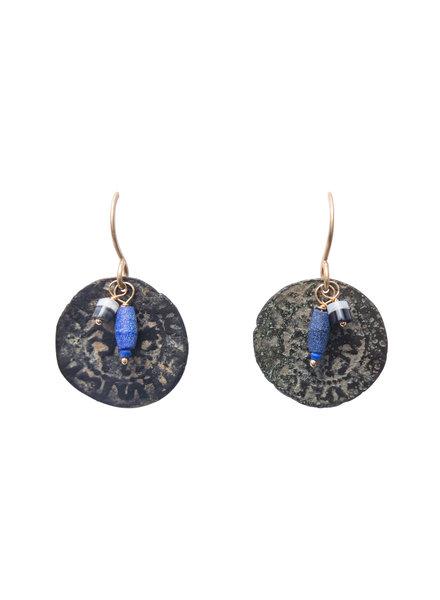 Renee Garvey Lapis Ancient Coin Earrings
