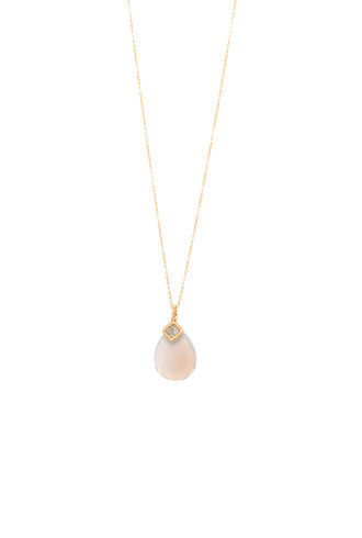 Dana Kellin Fine 14k Grey Diamond and Chalcedony Necklace