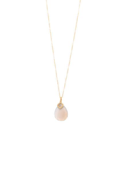 Dana Kellin Fine 14k Grey Diamond and Chalcedony Necklace
