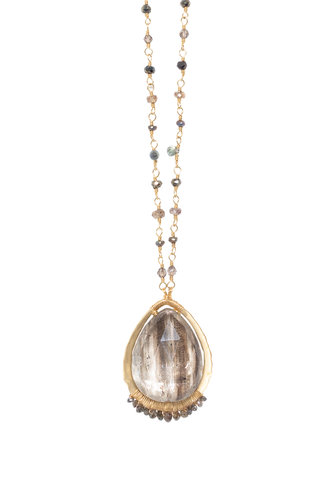 Dana Kellin Fine 14k Brown Rutilated Quartz and Diamond Necklace