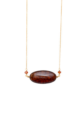 Dana Kellin Fine 14k Brown Agate Necklace
