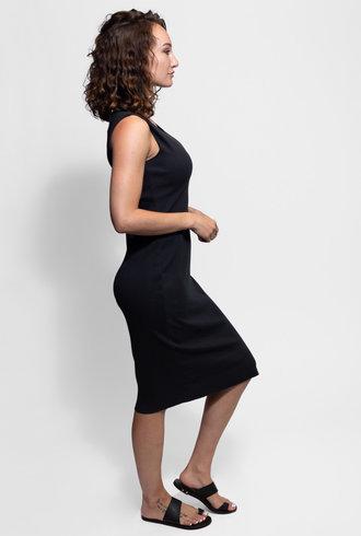 Raquel Allegra Rib Layering Midi Dress Black