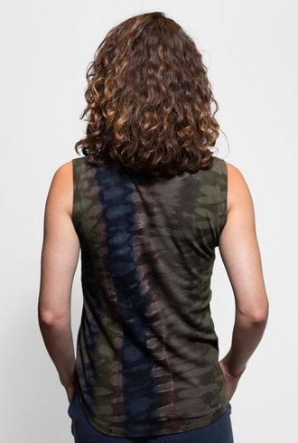 Raquel Allegra Muscle Tee Forest Camo Tie Dye