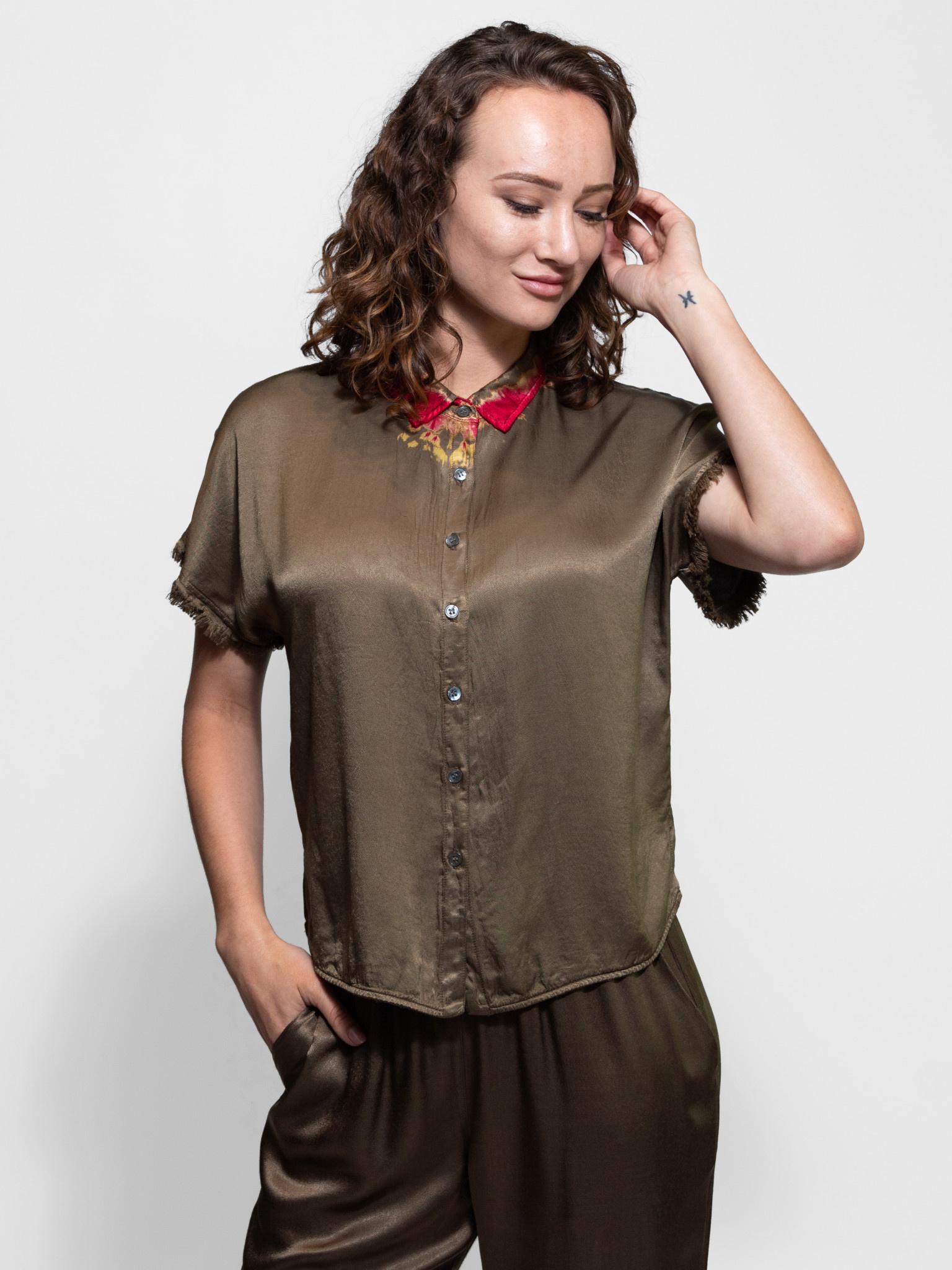 Raquel Allegra Short Sleeve Button Up Blouse Moss Tie Dye Alhambra Women S Clothing Boutique Seattle