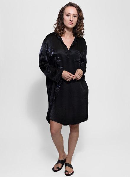 Raquel Allegra Relaxed Shirt Dress Black Tie Dye