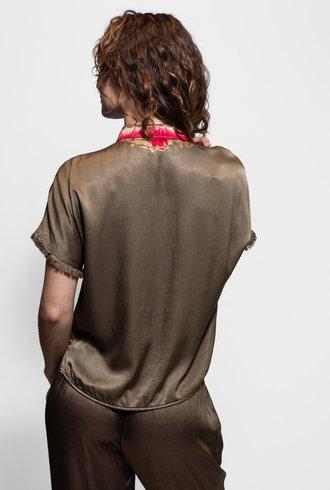 Raquel Allegra Short Sleeve Button Up Blouse Moss Tie Dye