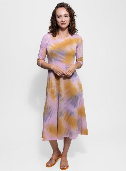 Raquel Allegra Big Sweep 3/4 Sleeve Dress Solar Tie Dye