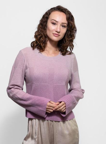 Raquel Allegra Cropped Crew Sweater Orchid Tie Dye