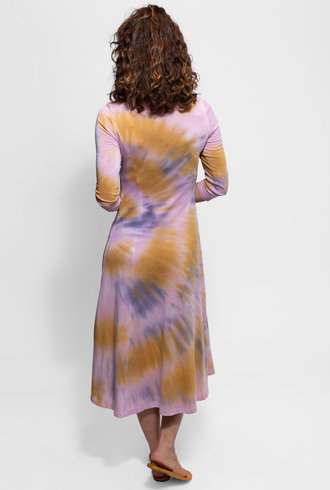 Raquel Allegra Big Sweep 3/4 Sleeve Dress Solar Tie Dye