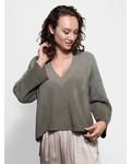 Raquel Allegra Square V-Neck Sweater Army Tie Dye