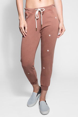 The Great Cropped Sweatpant Rust Wishweed Embroidery