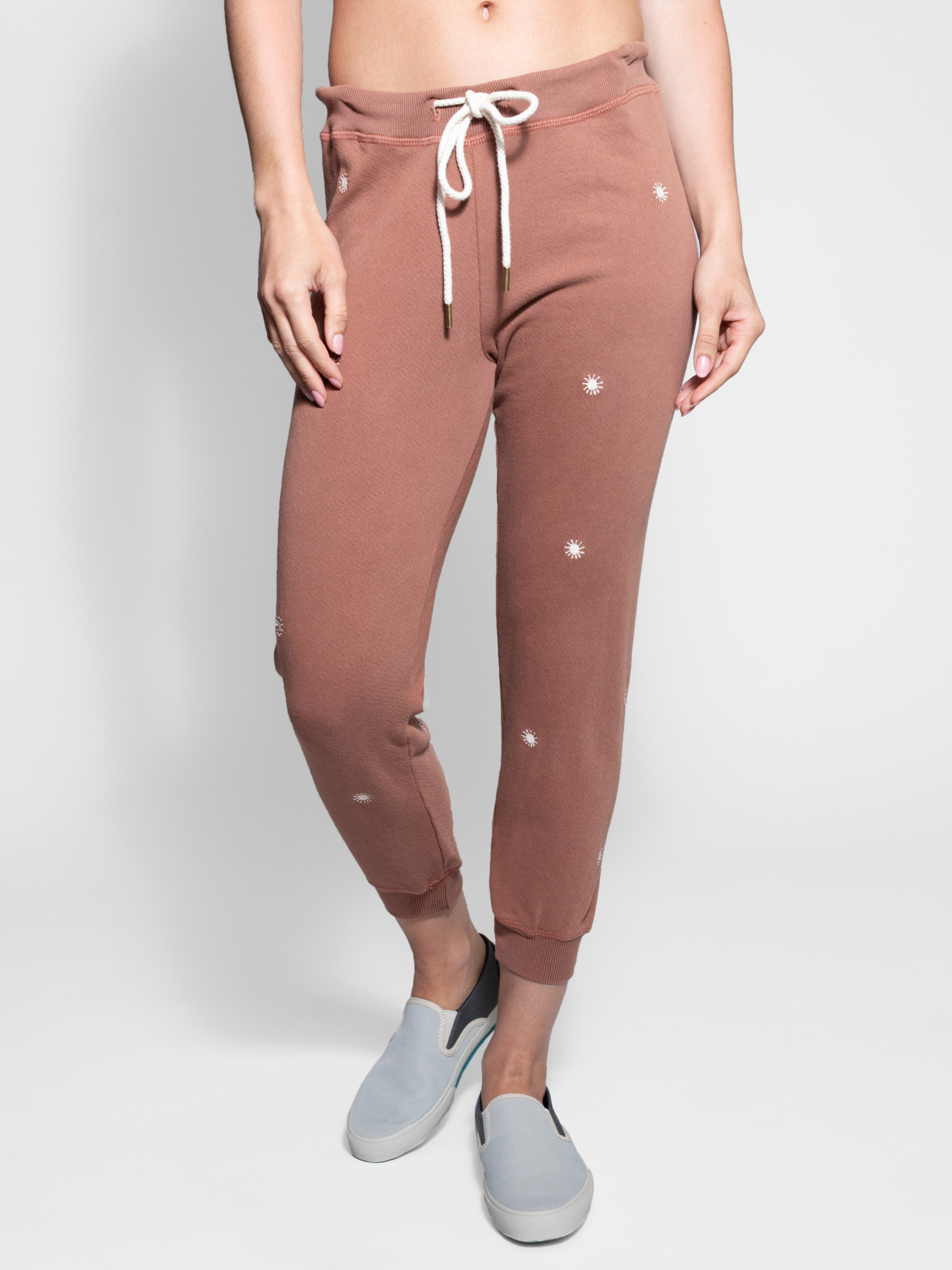 cute new list shop for genuine The Great - Cropped Sweatpant Rust Wishweed Embroidery