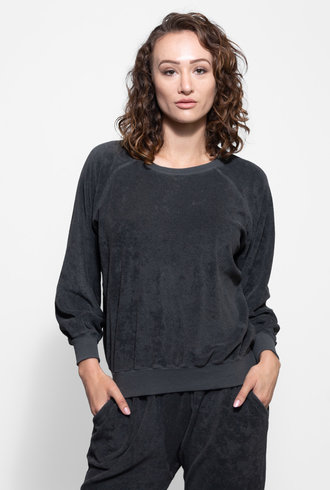 The Great Micro Terry Bubble Sweatshirt Washed Black