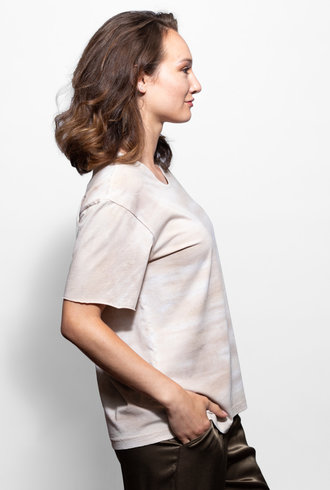 Raquel Allegra Boxy Tee Sand Tie Dye