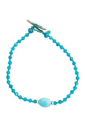 Renee Garvey Neon Apatite, Sleeping Beauty Turquoise, and Abalone  Bracelet