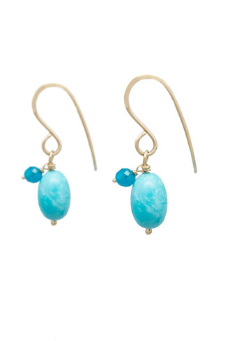 Renee Garvey Sleeping Beauty Turquoise, Apatite, and Gold Earrings
