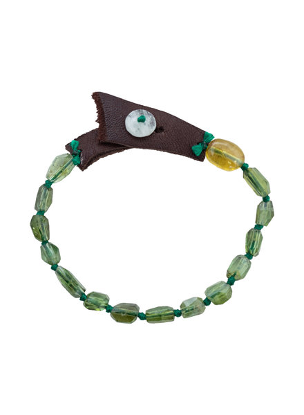 Renee Garvey Green Tourmaline, Silk and Moonstone Bracelet