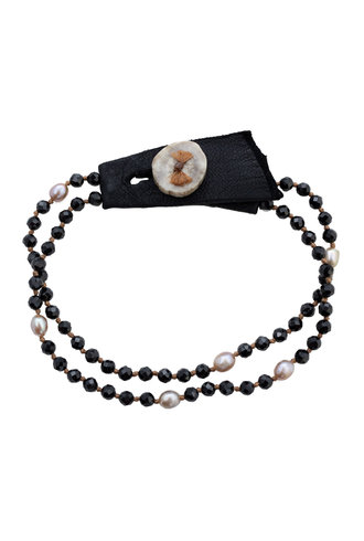 Renee Garvey Black Spinel, Pearl, Silk, and Antler Bracelet