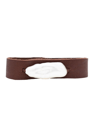 Renee Garvey Long White Pearl and Leather Bracelet