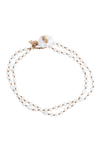 Renee Garvey Tiny Keshi Pearls and Silk Knotting Bracelet