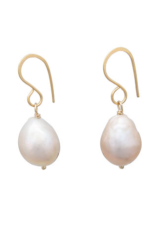 Renee Garvey Large Natural Baroque Pearl and 14K Gold Earrings