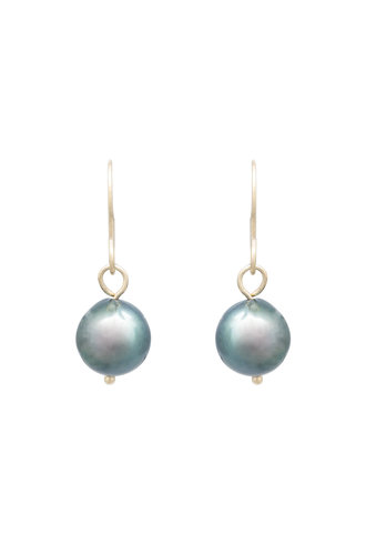 Renee Garvey Large Tahitian Pearl and 14K Gold Earrings