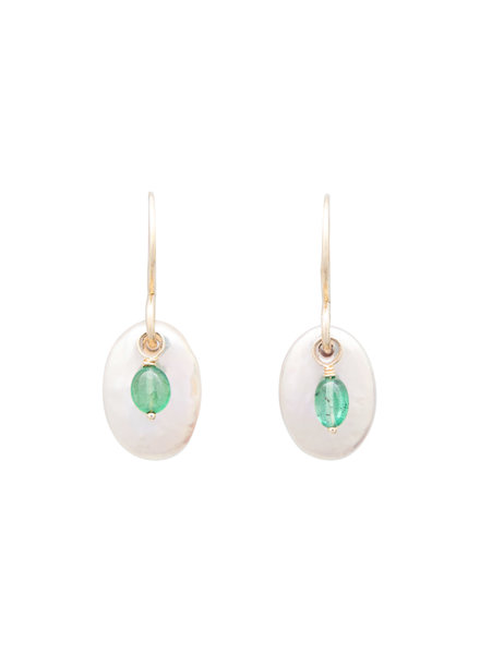Renee Garvey Oval Pearl with Emerald Drop and 14K Gold Earrings