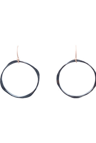 Renee Garvey Thick and Thin Hammered Oxidized Sterling Silver Earrings