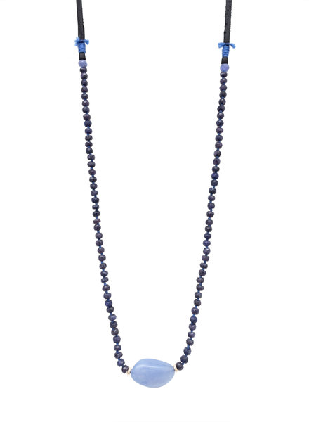 Renee Garvey Blue Sapphire, Chalcedony, 14K Gold, and Leather Necklace