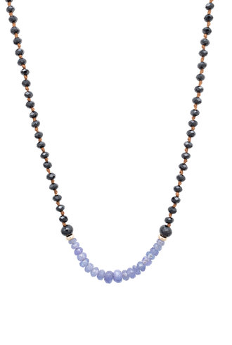 Renee Garvey Black Spinel, Tanzanite, Silver, and 14K Gold Necklace