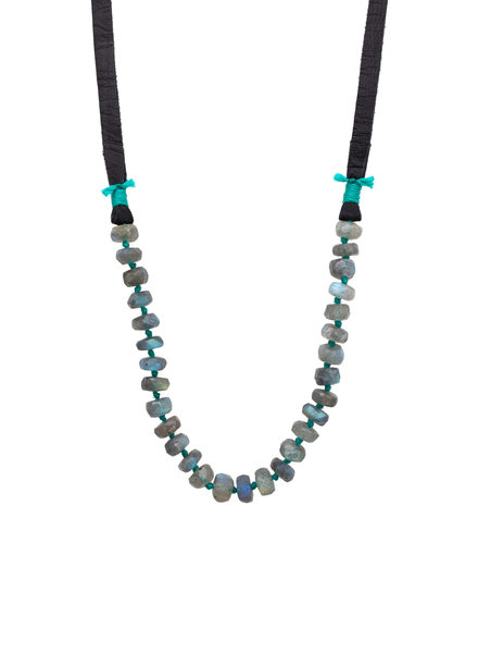 Renee Garvey Faceted Labradorite, Silk, 14K Gold, and Leather Necklace