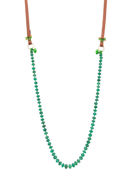 Renee Garvey Smooth Emerald, Silk, 14K Gold, Abalone, and Leather Necklace