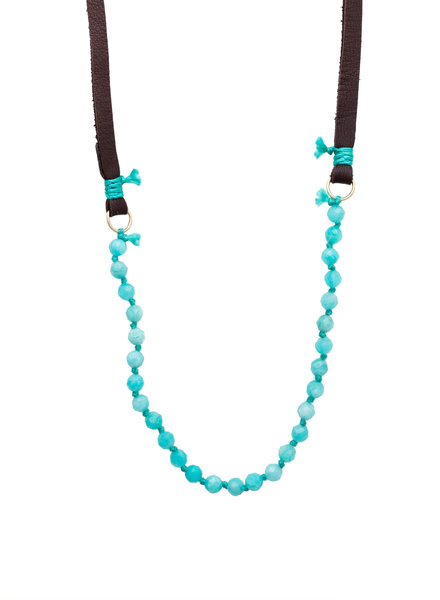 Renee Garvey Russian Amazonite, Silk, 14K Gold, Antler, and Leather Necklace