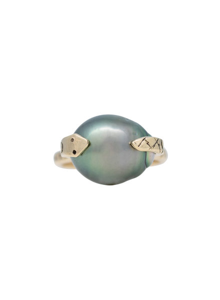 Renee Garvey 10K Gold Riveted Snake Band with Tahitian Pearl Ring