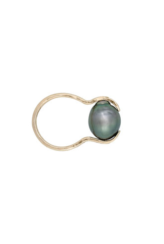 Renee Garvey 10K Gold Riveted Snake Band with Round Tahitian Pearl Ring