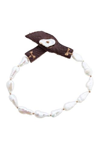 Renee Garvey Long Keshi Pearl, Silk, and Leather Bracelet