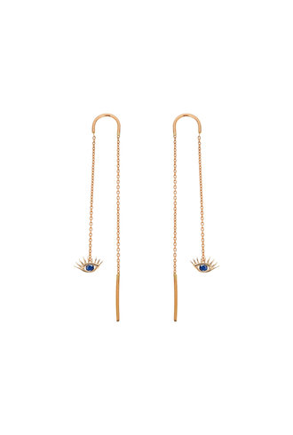 KISMET by Milka Sapphire Evil Eye Earring with Short Chain