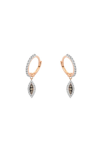 KISMET by Milka 10th Eye Haven Hoop Earring in White and Champagne Diamond