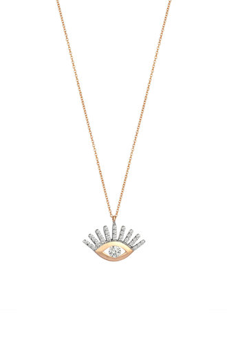 KISMET by Milka Large Evil Eye White Diamond Necklace