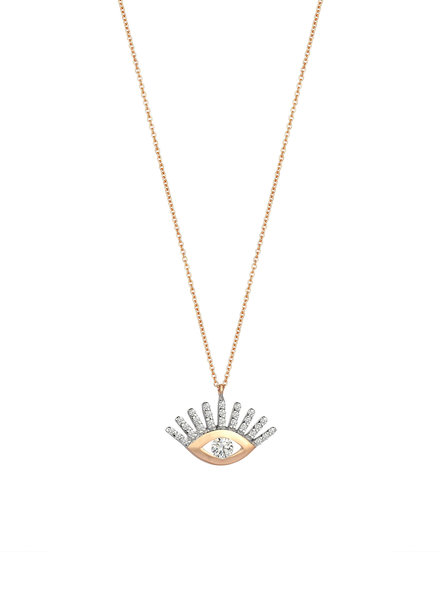 KISMET Large Evil Eye White Diamond Necklace