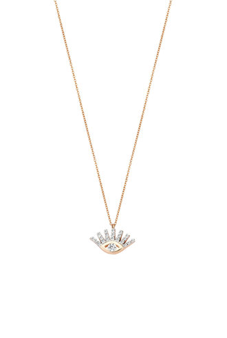 KISMET by Milka Small Evil Eye White Diamond Necklace